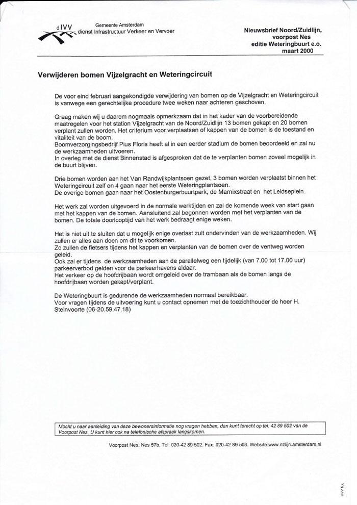 Post image for Verwijdering bomen Vijzelgracht en Weteringcircuit