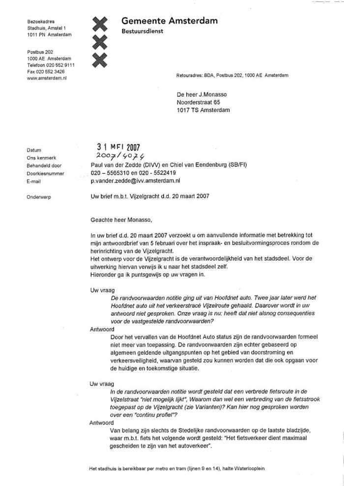 Post image for Vragen over inspraak- en besluitvormingsproces herinrichting Vijzelgracht