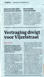 verstraging dreigt voor Vijzelstraat